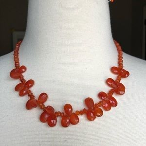 Carnelian necklace with sterling clasp